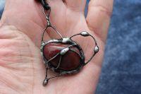 SRDÍČKO JASPISOVÉ - cínovaný šperk