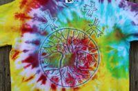 STROM ŽIVOTA - batikované tričko, vel. M,š.2x52 cm - unisex střih