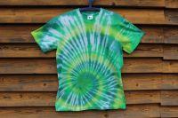 ZELENÁ SPIRÁLA 2. - batikované tričko, šířka 2x52 cm