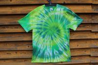ZELENÁ SPIRÁLA - batikované tričko, šířka 2x56 cm